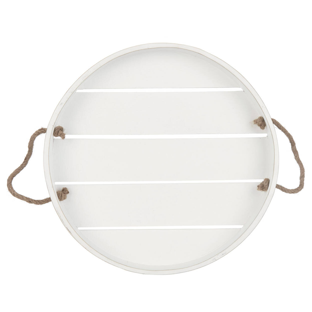 Round Wooden Tray with Rope Handles