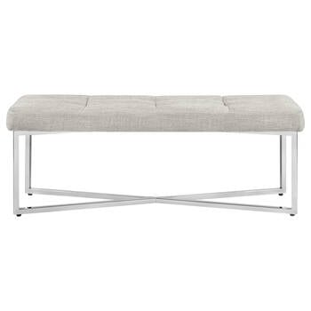 Chita Fabric and Chrome Bench
