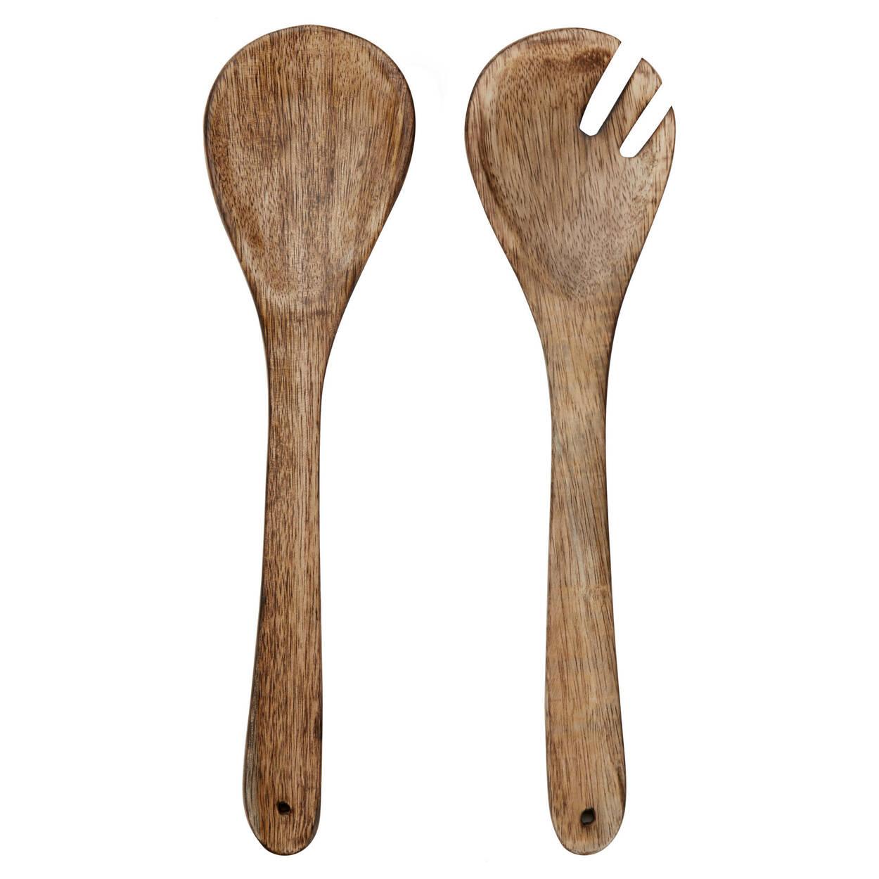 Ensemble de 2 ustensiles de service en bois de manguier