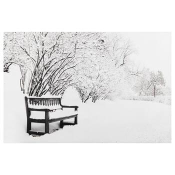 Tableau imprimé d'un banc en hiver