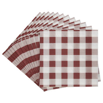 Pack of 20 Red Plaid Paper Napkins