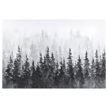 Gel-Embellished Winter Forest Printed Canvas