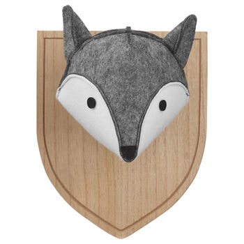 Decorative Felt Fox Head on Wooden Plaque