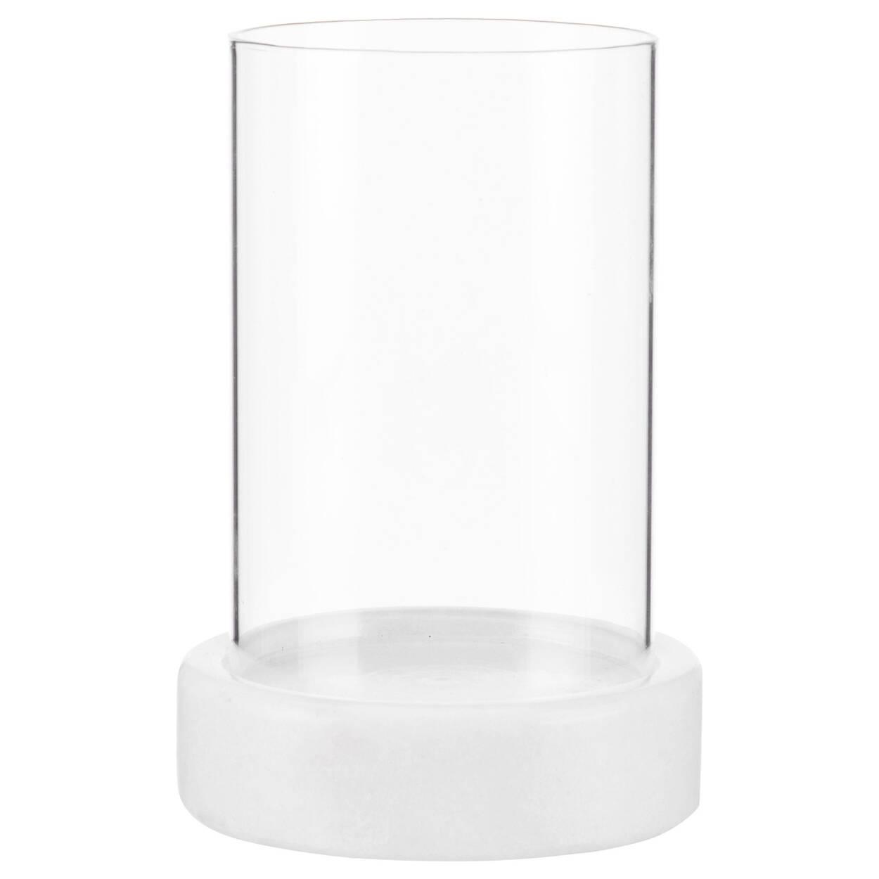 Porte-chandelle en verre et marbre