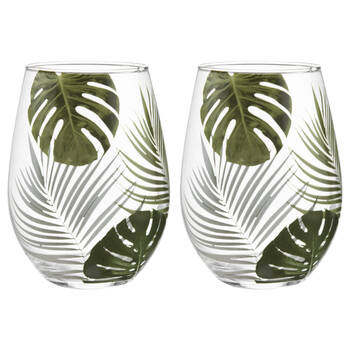 Set of 2 Palm Leaves Glasses