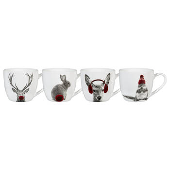 Set of 4 Winter Animals Mugs