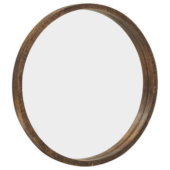 Round Wood-Framed Mirror