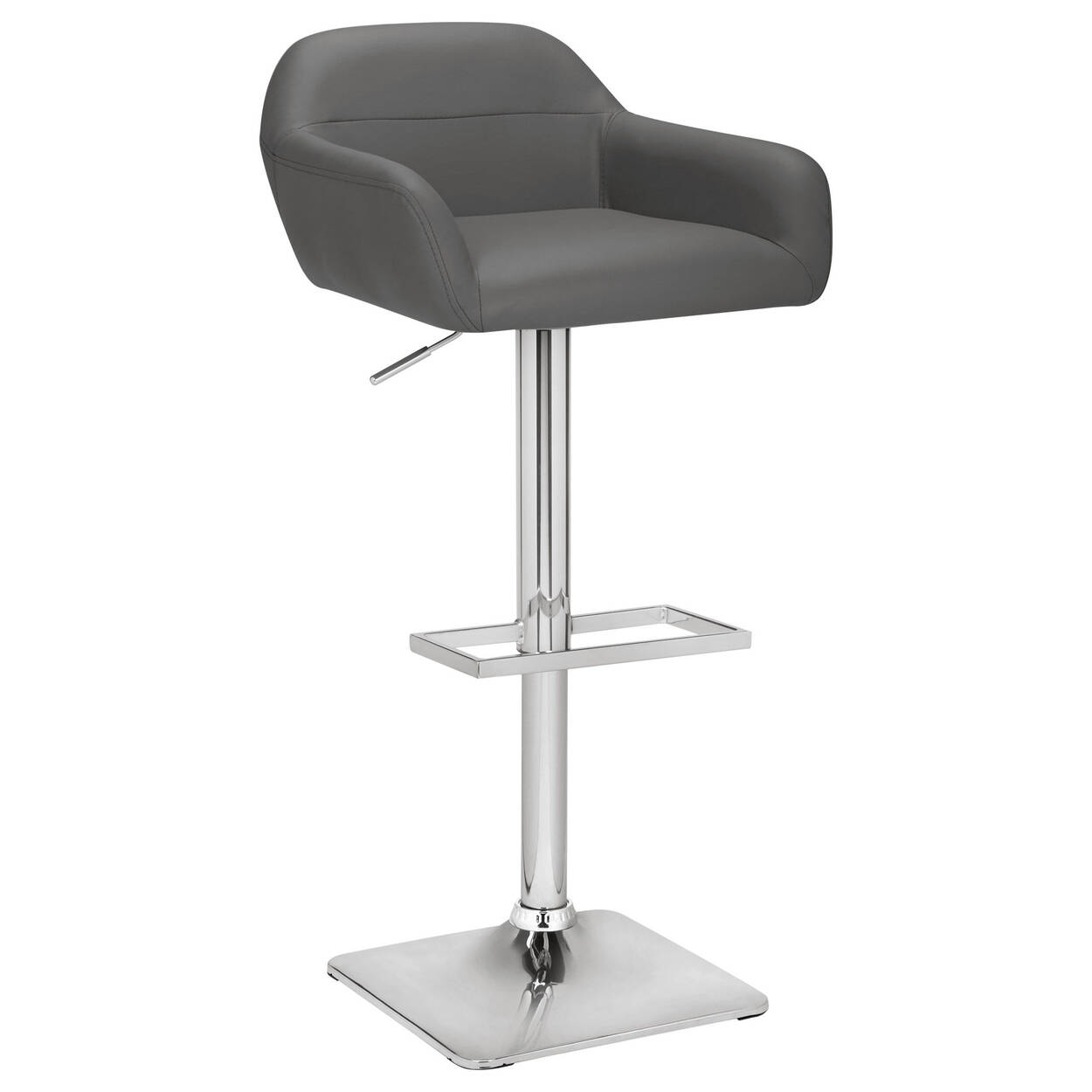 faux leather and chrome adjustable bar stool. Black Bedroom Furniture Sets. Home Design Ideas