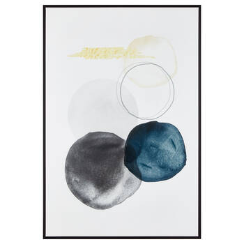 Gel-Embellished Blue and Yellow Abstract Framed Art