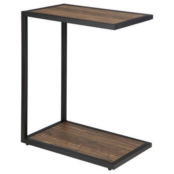 Veneer and Iron Side Table