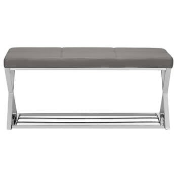 Faux Leather and Chrome Bench