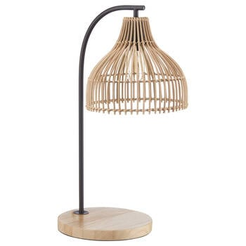 Rattan and Natural Wood Table Lamp