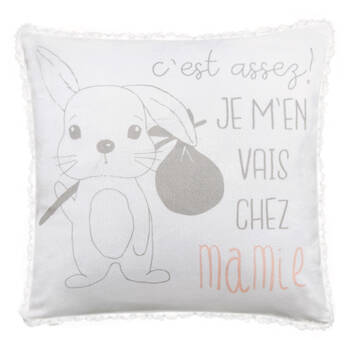 "Chez Mamie Sherpa-Lined Decorative Pillow 15"" X 15"""