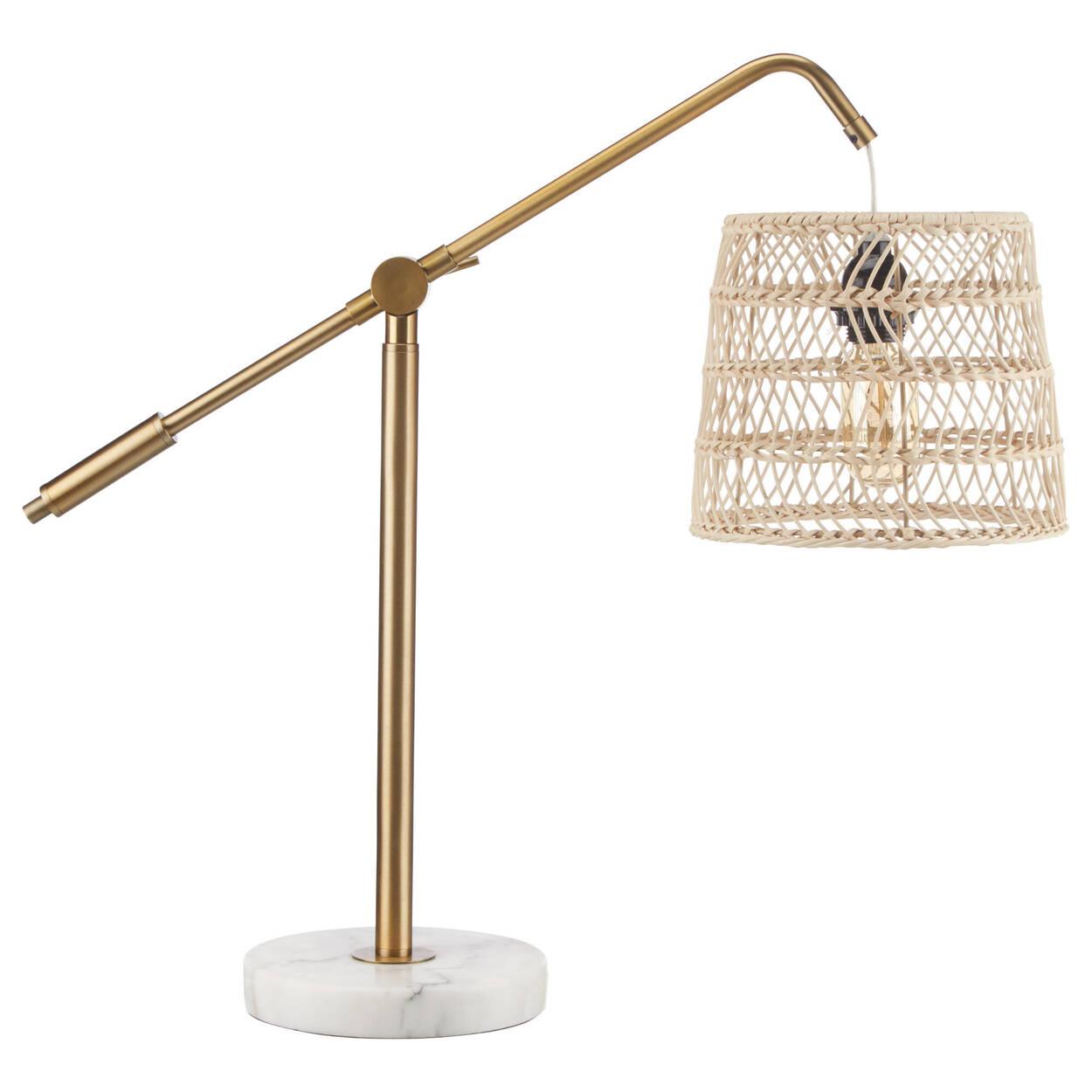 Lampe de table dorée avec base en marbre