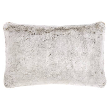 "Silver Fox Faux Fur Decorative Lumbar Pillow 14"" x 22"""