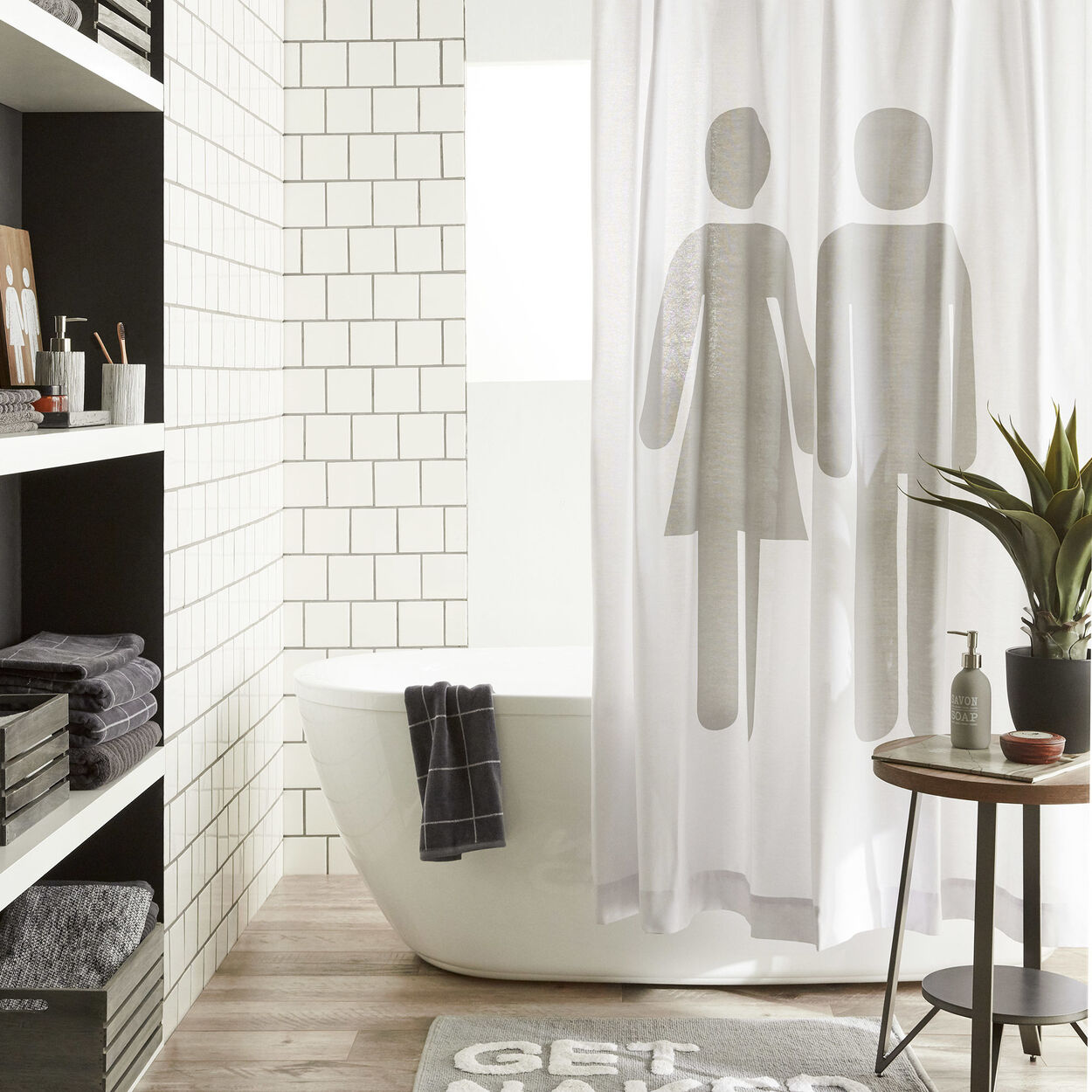 Man Woman Shower Curtain