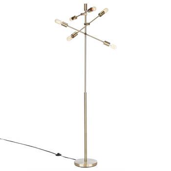Lampe Spoutnik sur pied en métal doré