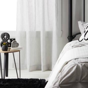 Elika Striped Rod Pocket Sheer Curtain