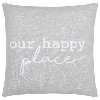 "Our Happy Place Decorative Pillow 19"" X 19"""