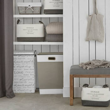 Script Foldable Hamper with Handles