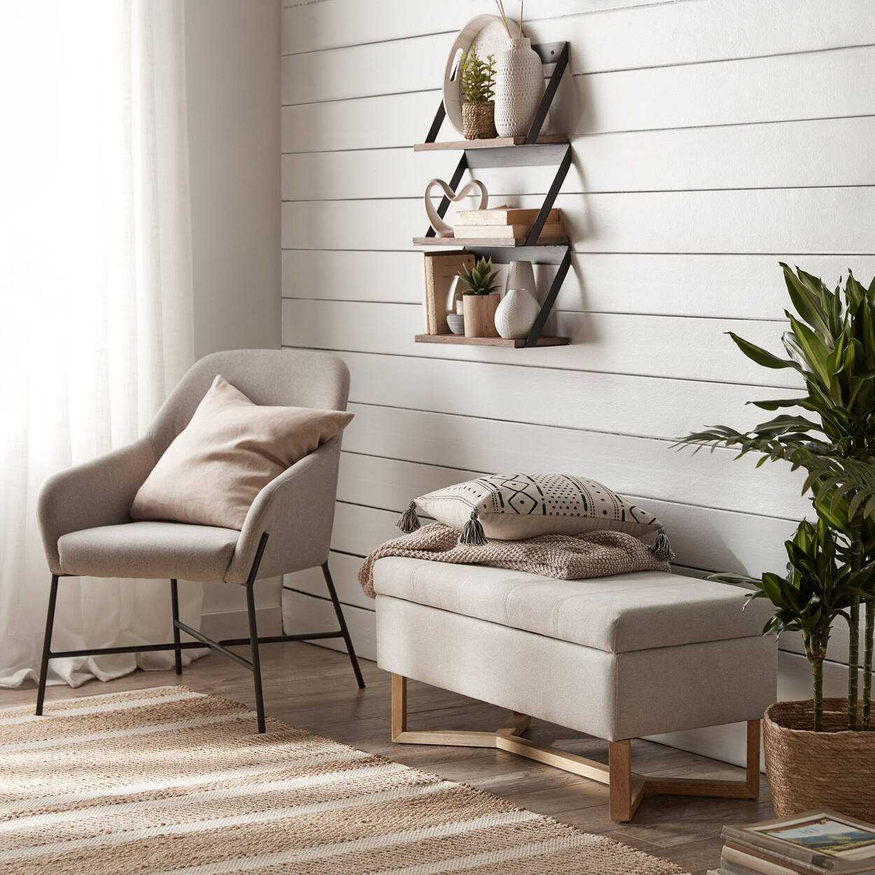 Fabric and Wood Storage Bench