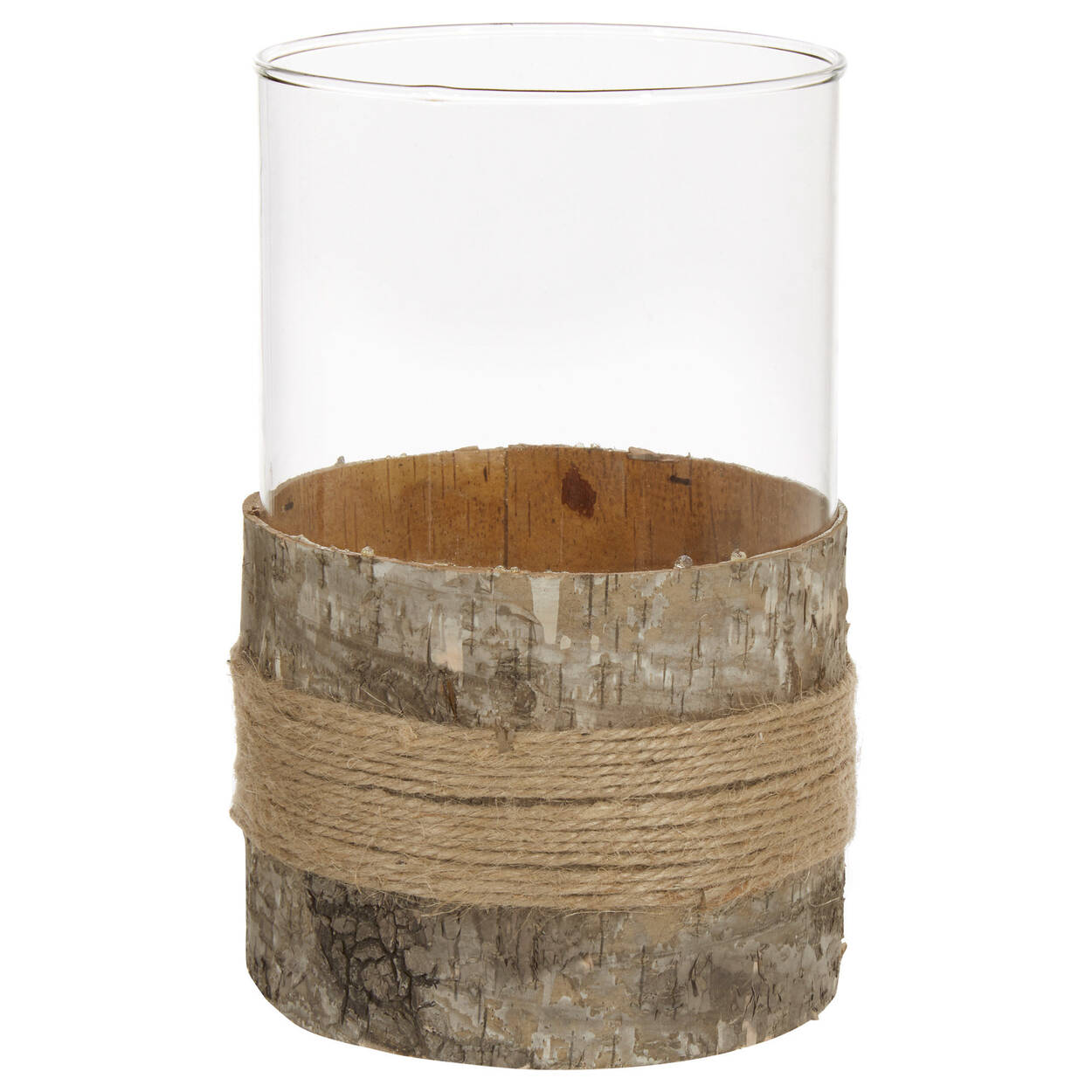 Porte-chandelle en verre et en écorce de bois