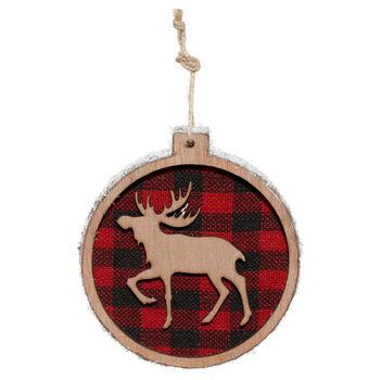 Wooden Plaid Reindeer Ornament