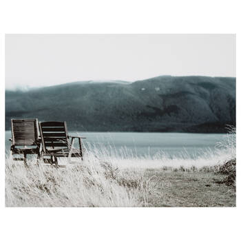 Chairs by the Lake Printed Canvas
