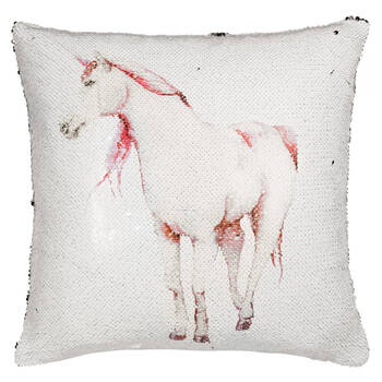 "Unicorn Sequined Star Decorative Pillow 16"" X 16"""