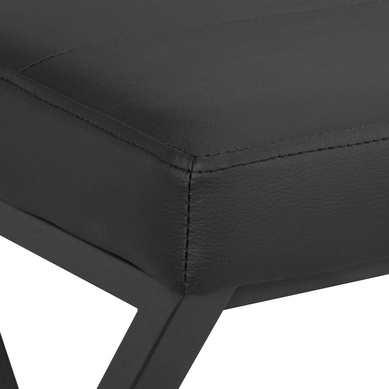 Textured Faux Leather Bench With Metal Base