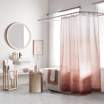 Rideau de douche dégradé de rose