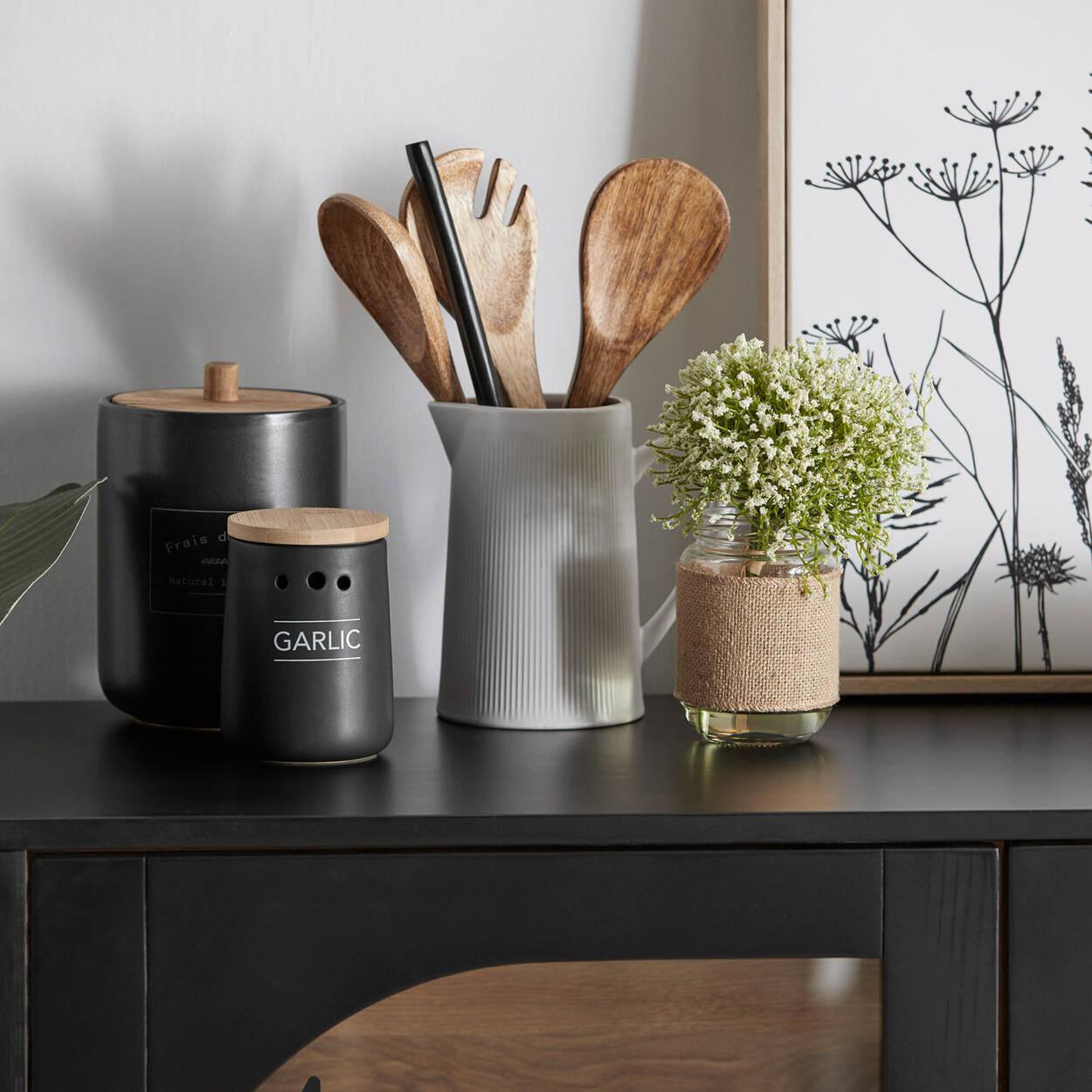 Pot à ail en céramique noir