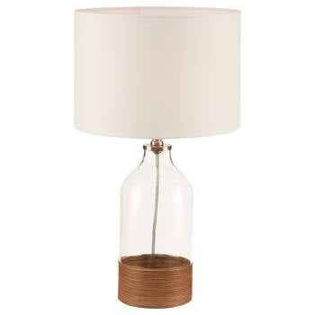 Glass and Rattan Table Lamp