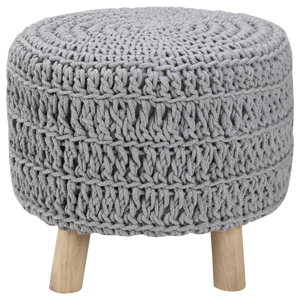 Pouf en bois et en coton tricoté