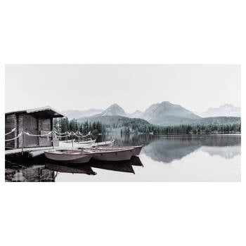 Reflection of Canoes Printed Canvas