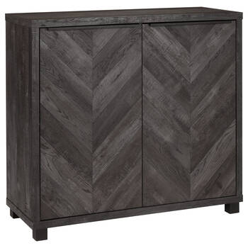 Two-Door Chevron Veneer and Metal Buffet