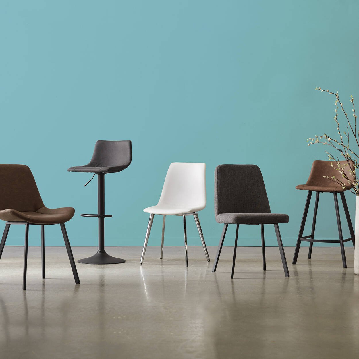 Chita Fabric and Metal Dining Chair