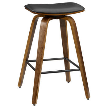 Faux Leather and Walnut Wood Backless Stool