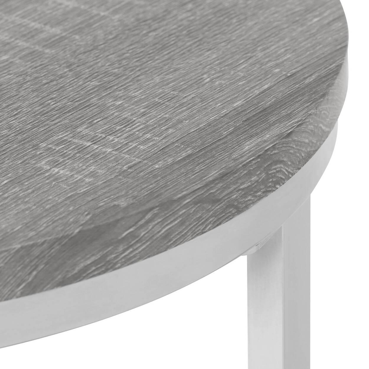 Set of 2 Veneer Coffee Tables with Chrome Legs