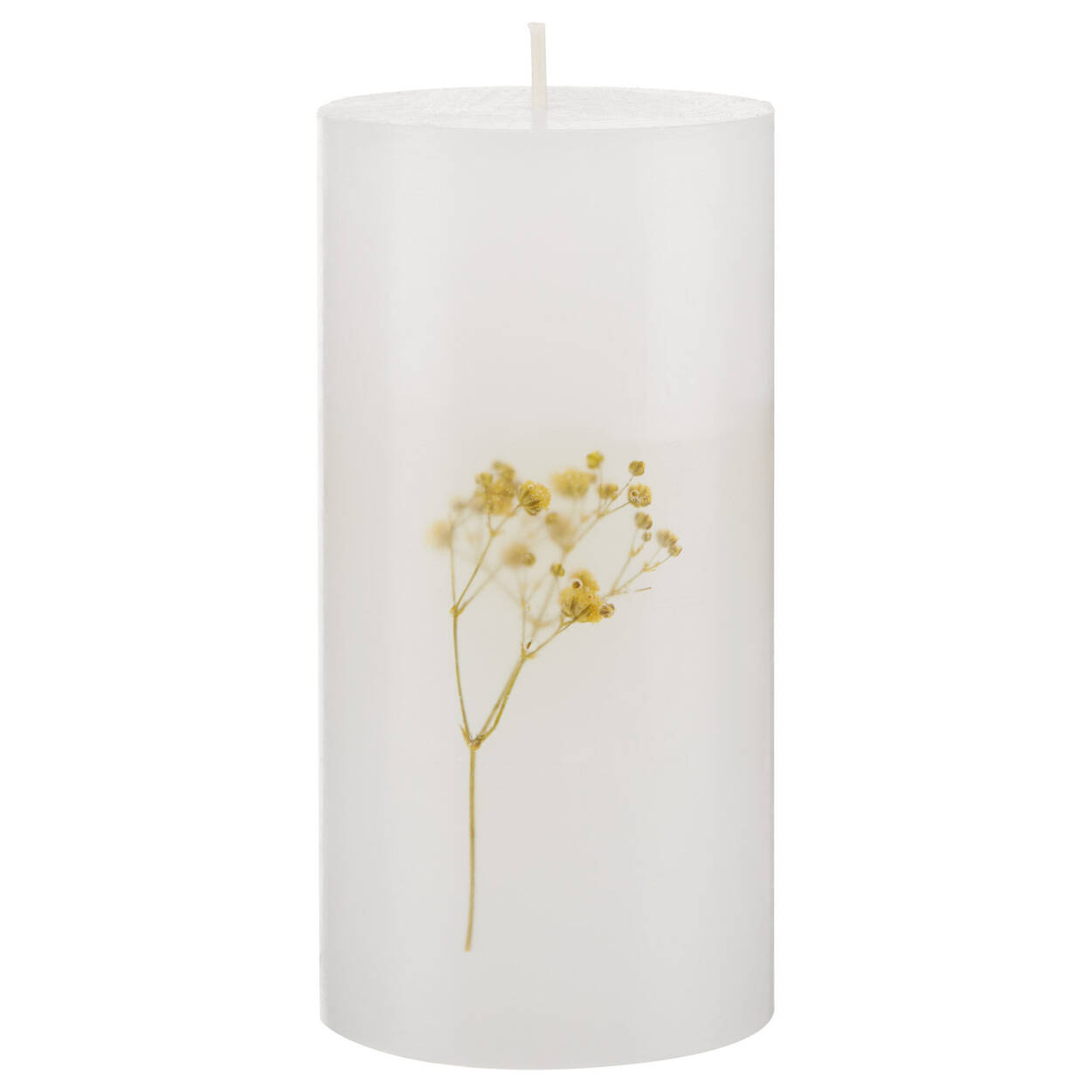 Chandelle blanche avec fleur jaune