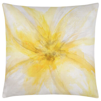 "Zinnia Flower Print Decorative Pillow 19"" X 19"""