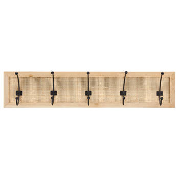 Set of 5 Hooks On Caned Rattan Plaque