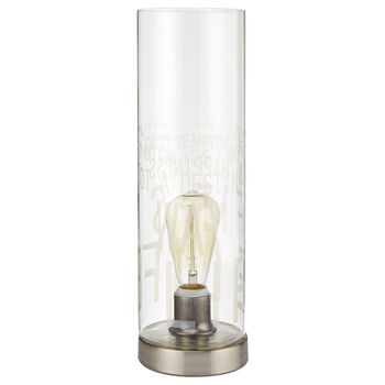 Cylinder Glass Table Lamp with Script Details
