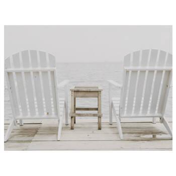 Tableau imprimé chaises adirondack sur quai