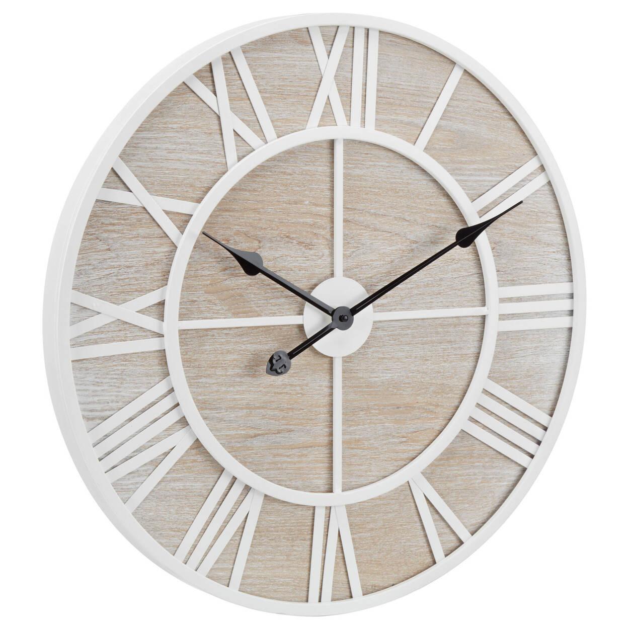 Horloge murale en bois cendré