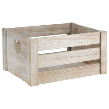 Medium Wooden Crate with Heart-Shaped Handles