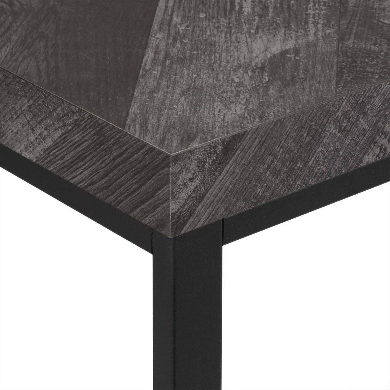 Veneer and Iron Coffee Table with Chevron
