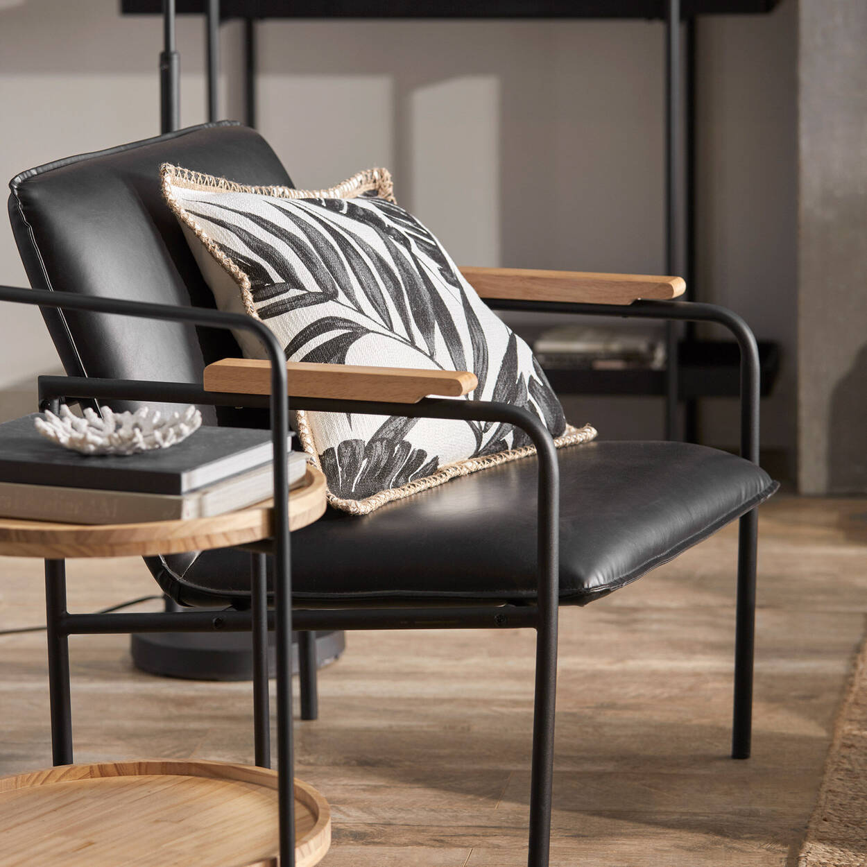Metal and Black Faux-Leather Lounge Chair