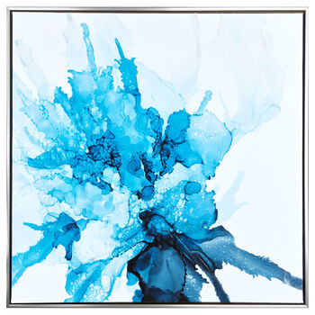 Gel-Embellished Blue Abstract Framed Art