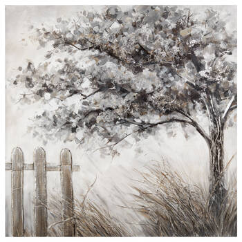 Silver Tree Oil Painted Canvas